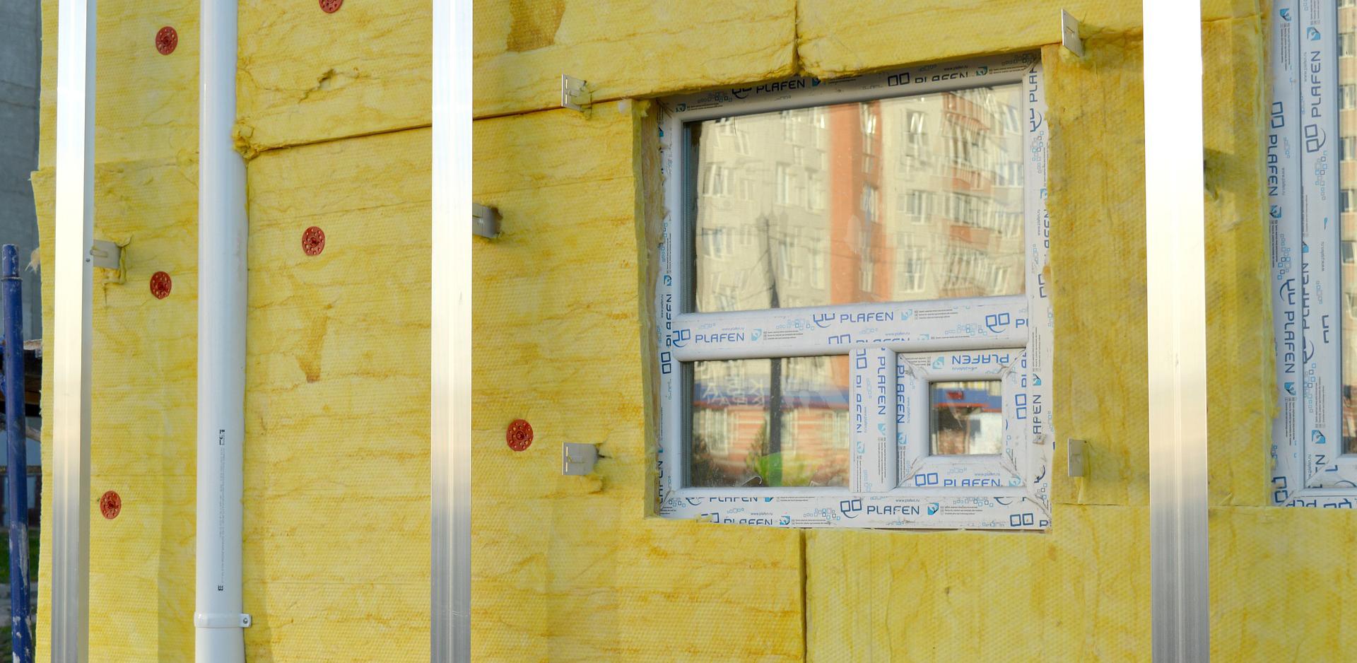 Dämmung an einer Hausfassade